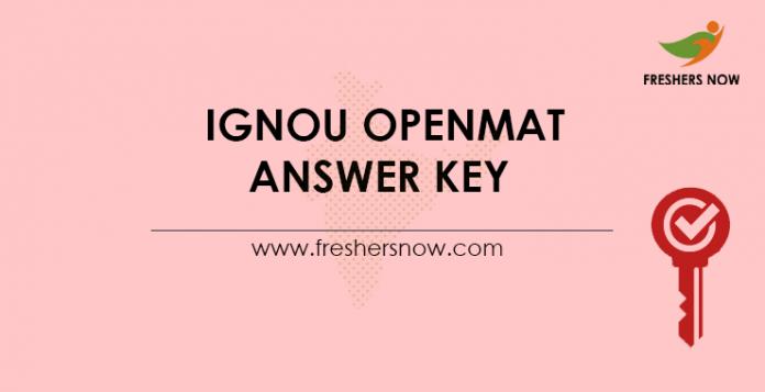 IGNOU OPENMAT Answer Key