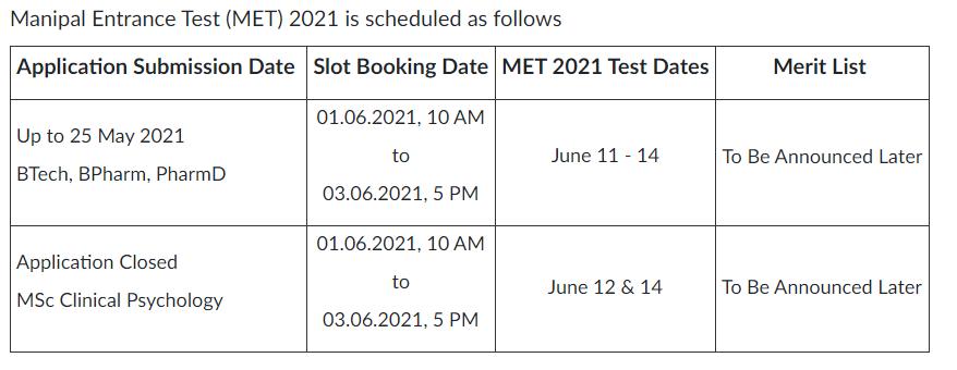MET dates